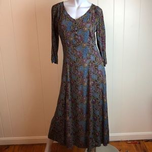 Eddie Bauer Plum Olive V Neck Button Top Dress